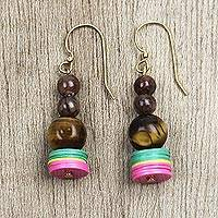Agate and tiger's eye beaded dangle earrings, 'Eco-Friendly Amazement' - Eco-Friendly Agate and Tiger's Eye Beaded Dangle Earrings