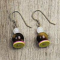 Tiger's eye and agate beaded dangle earrings, 'Eco Cuteness - Tiger's Eye and Agate Earrings Crafted in Ghana