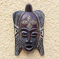 African wood mask, 'Puno Festivity' - Puno Tribe African Wood Mask from Ghana