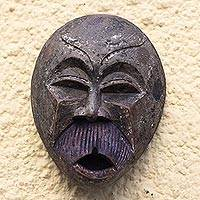 African wood mask, 'Howling Ape' - Rustic African Sese Wood Ape Mask from Ghana