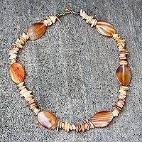 Agate and recycled glass beaded necklace, 'Angelic Earth' - Brown Agate and Recycled Glass Beaded Necklace from Ghana