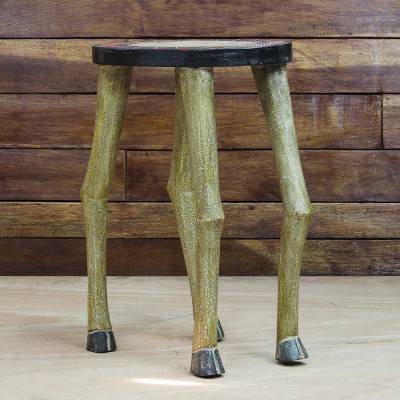 Wood accent table, 'Galloping Horse' - Horse-Themed Sese Wood Accent Table from Ghana
