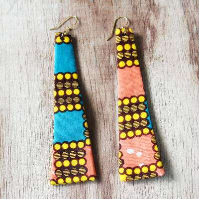 Cotton fabric dangle earrings, 'Abena Pillars' - Colorful Cotton Fabric Dangle Earrings from Ghana