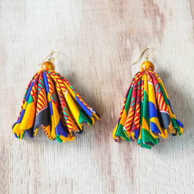 Cat's eye and cotton fabric dangle earrings, 'Ohemaa Elegance' - Cat's Eye and Cotton Fabric Dangle Earrings from Ghana