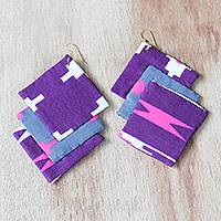 Cotton fabric dangle earrings, 'Mawusi Squares' - Square Cotton Fabric Dangle Earrings from Ghana
