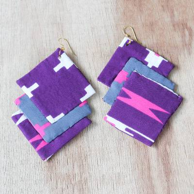 Cotton fabric dangle earrings, Mawusi Squares