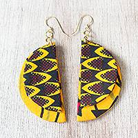 Cotton fabric dangle earrings, 'Selikem Stars' - Star Motif Cotton Fabric Dangle Earrings from Ghana