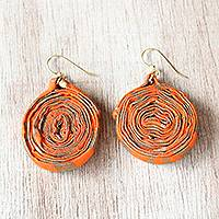 Cotton fabric dangle earrings, 'Orange Kaklo' - Orange and Gold-Tone Cotton Fabric Dangle Earrings