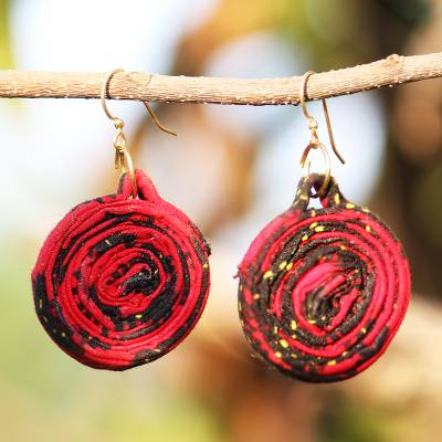 Cotton and recycled glass beaded fabric earrings, 'Red Kaklo' - Red Cotton and Recycled Glass Beaded Fabric Earrings
