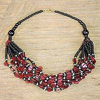Glass beaded necklace, 'Red Ghanaian Thank You' - Black and Red Ghanaian Necklace of Recycled Beads