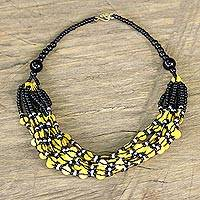 Glass beaded necklace, 'Yellow Ghanaian Thank You' - Black and Yellow Ghanaian Necklace of Recycled Beads
