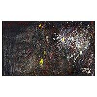 'Jazz Music III' - Signed Abstract Painting in Black from Ghana