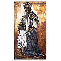 'Caring Mother' - Expressionist Painting of a Caring Mother from Ghana