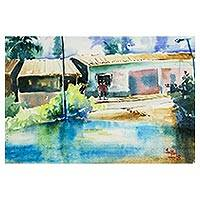 'Tranquility' - Signed Impressionist Painting of a Village from Ghana