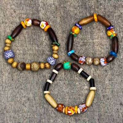 Wood and recycled glass beaded stretch bracelets, 'Eco Friends' (set of 3) - Wood and Recycled Glass Beaded Stretch Bracelets (Set of 3)