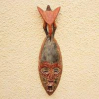 African wood mask, 'Eagle Head' - African Wood Mask with an Eagle on Top from Ghana