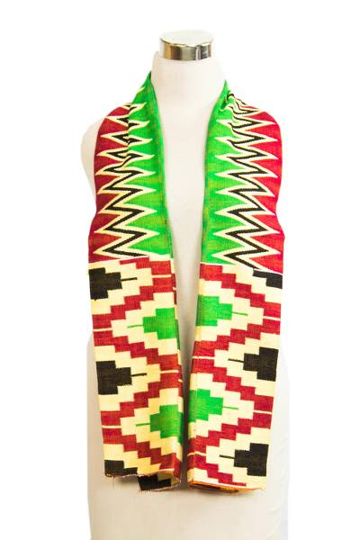 Cotton blend kente scarf, 'Akan Blessing' (2 strips) - Two Strips Handwoven Green and Red African Kente Scarf
