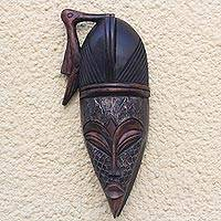 African wood mask, 'Pecking Bird' - Bird-Themed African Wood and Aluminum Mask from Ghana