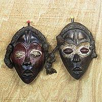 African wood masks, 'Dan Travelers' (pair) - Dan-Inspired African Wood Masks from Ghana (Pair)