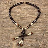Wood beaded pendant necklace, 'Beaded Dancer' - Beaded Wooden Pendant Necklace from Ghana