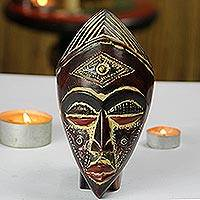 African wood mask, 'Jamuike Eye' - Rustic African Wood and Aluminum Mask from Ghana