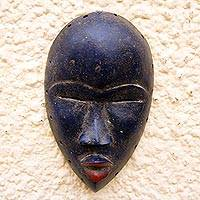African wood mask, 'Blue Dan' - Rustic Dan-Style African Wood Mask in Blue from Ghana