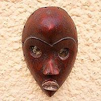 African wood mask, 'Red Dan' - Dan-Style African Wood Mask in Red from Ghana