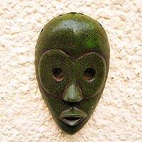 African wood mask, 'Green Dan' - Dan-Style African Wood Mask in Green from Ghana
