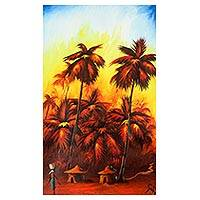 'Sun Set in Ada' - Signed Expressionist Landscape Painting at Sunset from Ghana