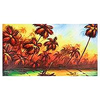 'Sun Set in Africa' - Signed Expressionist Palm Tree Painting from Ghana