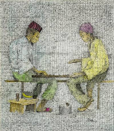 'The Game of Men' - Modern Ink Painting of Two Men Playing a Traditional Game