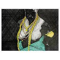 'Getting Ready II' - Modern Ink Painting of an African Woman from Ghana