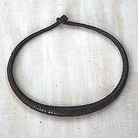 Braided leather necklace, 'Mpusia in Brown' - African Hand Crafted Braided Brown Leather Necklace