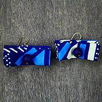 Cotton and recycled glass bead dangle earrings, 'Elinam' - Original Blue Cotton and Bead Earrings from Ghana