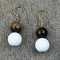 Tiger's eye and recycled glass beaded dangle earrings, 'Jungle Glory' - Tiger's Eye and Recycled Glass Beaded Dangle Earrings