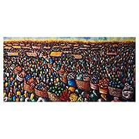 'Market Profile' - Acrylic on Canvas Large Market Scene Painting