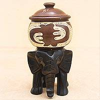 Decorative wood jar, 'Elephant Pot' - Hand Crafted Elephant Decorative Vessel from Ghana