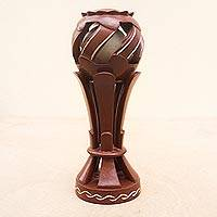 Wood sculpture, 'Destiny Cannot Be Changed' - Hand Carved Trophy Style Wood Sculpture