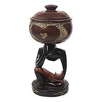 Decorative wood jar, 'Education Has No End' - Decorative Wood Home Accent from Ghana
