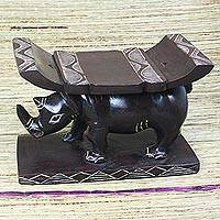 Wood home accent, 'Rhino at Rest' - West African Sese Wood Home Accent