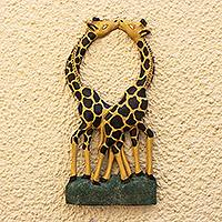 Wood wall decor, 'Giraffe Couple II' - Wood Giraffe Pair Wall Decor