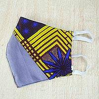 Cotton patchwork face mask, 'Encouraging Colors' - Ghanaian Cotton Patchwork 2-Layer Elastic Loop Face Mask