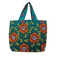 Cotton tote, 'Flowery Beauty' - Vibrant Cotton Tote Bag in Turquoise, Orange, and Yellow