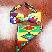 Cotton kente print bow tie and pocket square, 'Ashanti Heritage' - Ghanaian Cotton Kente Print Bow Tie Pocket Square Set