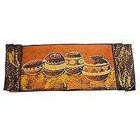 Batik cotton table runner, 'Beautiful Pots' - Hand Crafted Batik Cotton Table Runner from Ghana