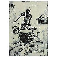 'Banku Lady' - Monochrome Painting of Woman Making Banku
