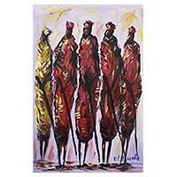 'Masai Warriors' - Original Acrylic Painting of Masai Warriors