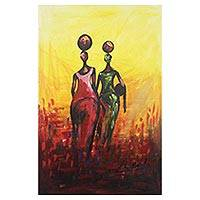 'Hard Work Pays' - West African Original Acrylic on Canvas Painting