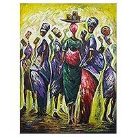 'Africa Mothers Pride' - Original Colorful Painting of African Women