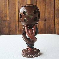 Sese wood sculpture, 'Twisted Globe' - Hand Carved Sese Wood Sculpture from Africa